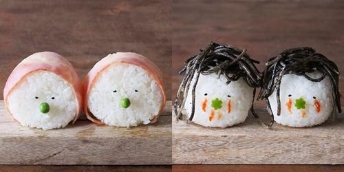 虾子变成头上的装饰品啦  头顶各种食物的超萌饭糰人!