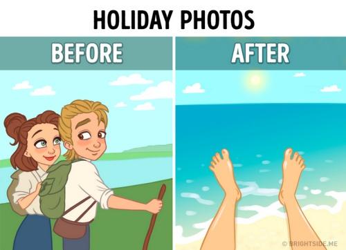 出去玩就是自拍和#hashtag一下!有手机vs.没有手机的10张超写实插画