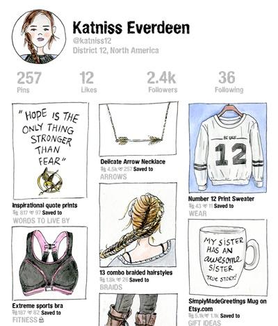 《饥饿游戏》凯妮丝开始玩Pinterest了?电影小说经典角色的网路生活插画