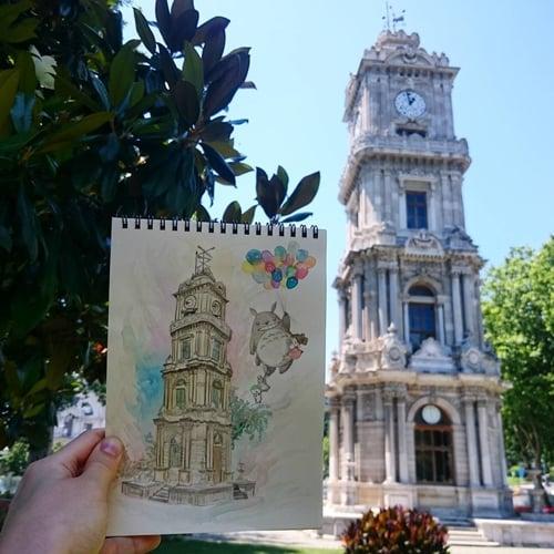 跟着龙猫一起玩遍伊斯坦堡!宫崎骏×手绘的城市速写旅行