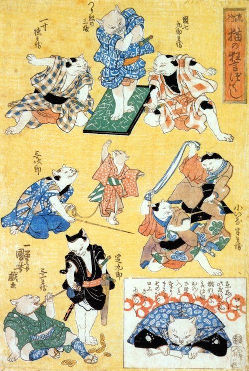 江户美人都换成猫会是什么样呢?爱猫成痴的猫咪浮世绘满足猫奴的所有幻想!