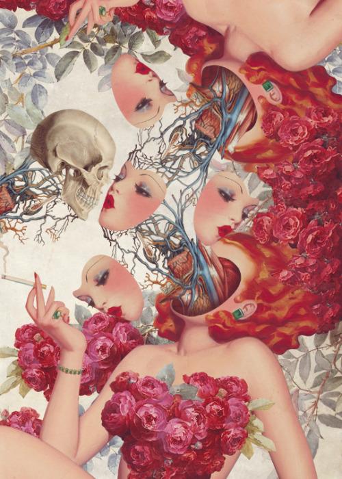 这才是真正的人骨拼图?60年代画报风格的猎奇人体画