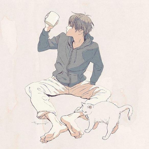 腻在一起耍废也好满足...男子×猫咪24小时日常插画特辑