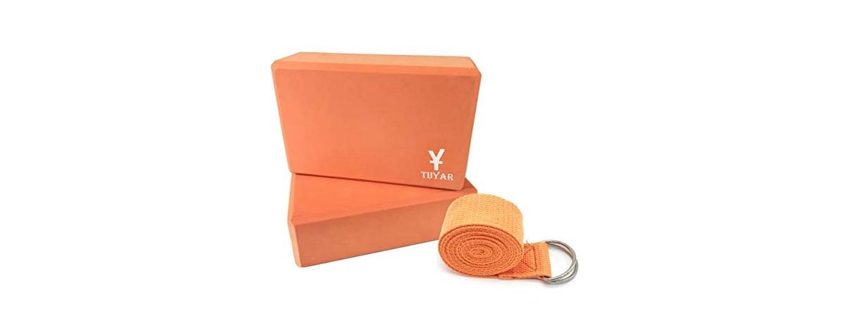 Tiiyar 瑜珈磚(2個)+瑜珈伸展帶 套組