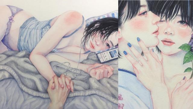 浪漫唯美的女女互动!日本插画师SHINRI让人心动的清新插画